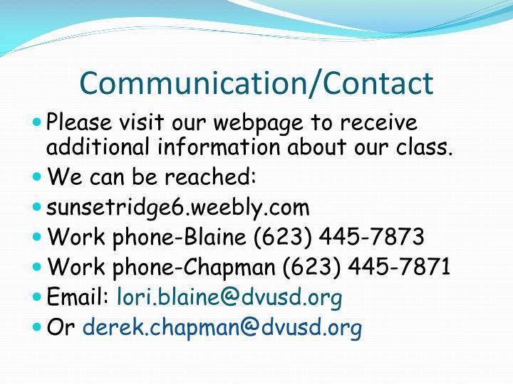 Communication/Contact