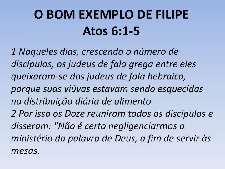 O BOM EXEMPLO DE FILIPE