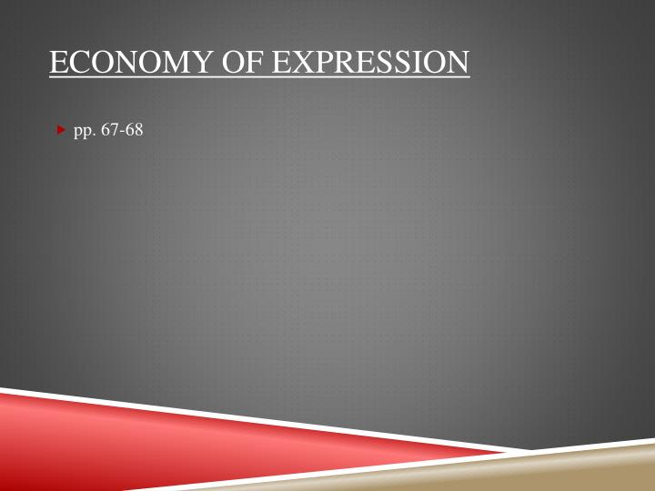 Economy of expression