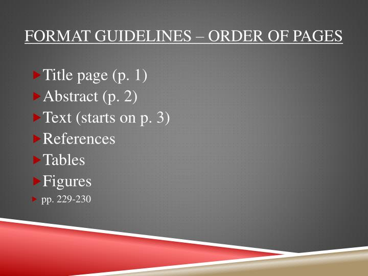 Format guidelines – order of pages