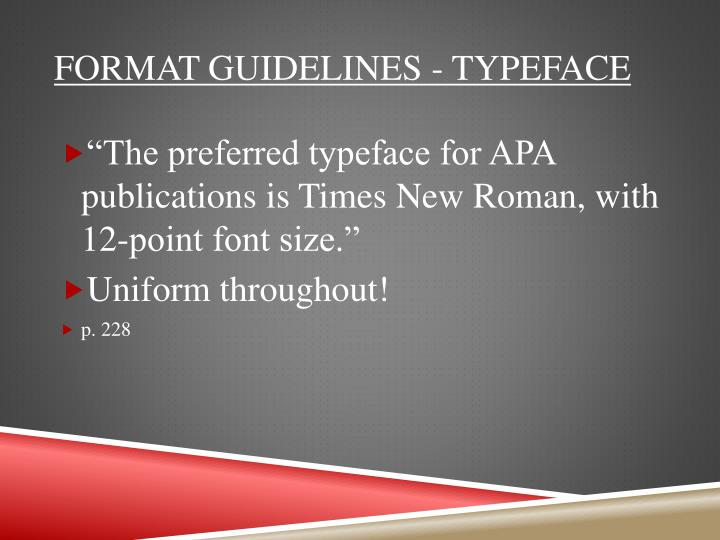 Format Guidelines - Typeface