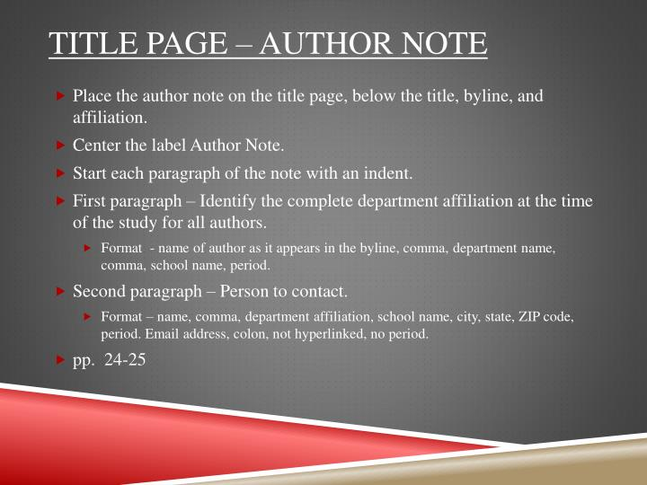 Title page – author note