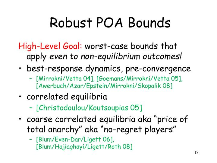 Robust POA Bounds