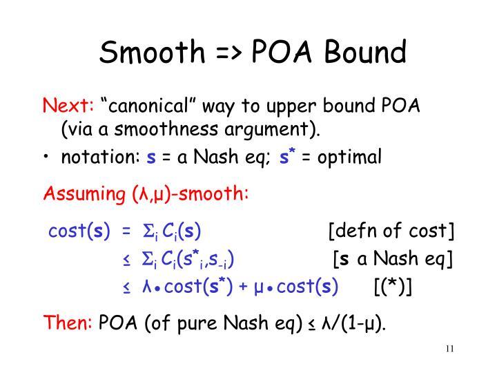 Smooth => POA Bound