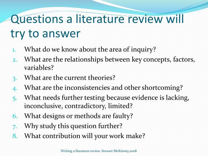 Questions a literature