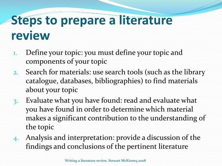 Steps to prepare a literature