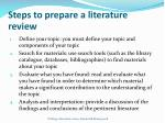steps to prepare a literature review