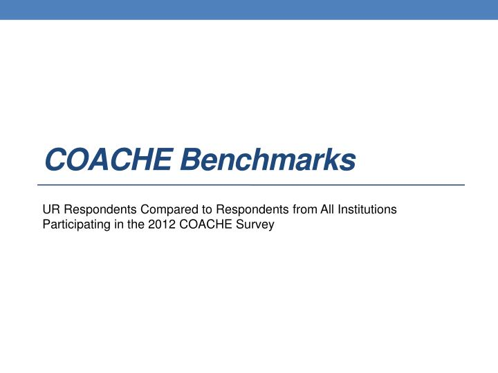 COACHE Benchmarks