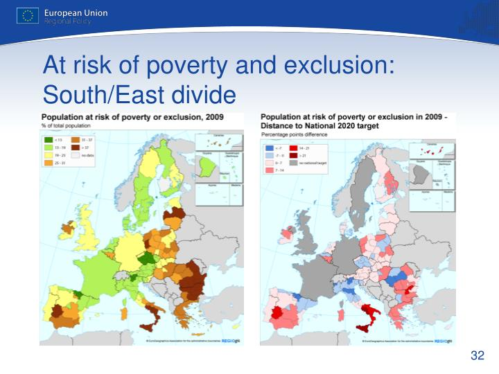At risk of poverty and exclusion: South/East divide