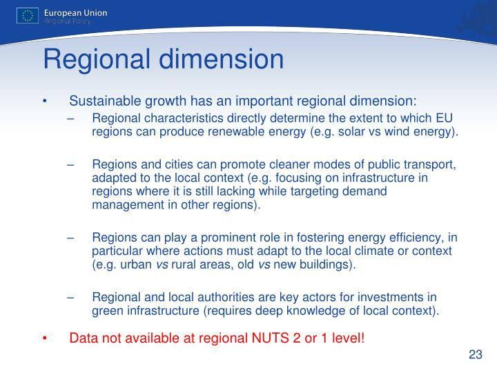 Sustainable growth has an important regional dimension: