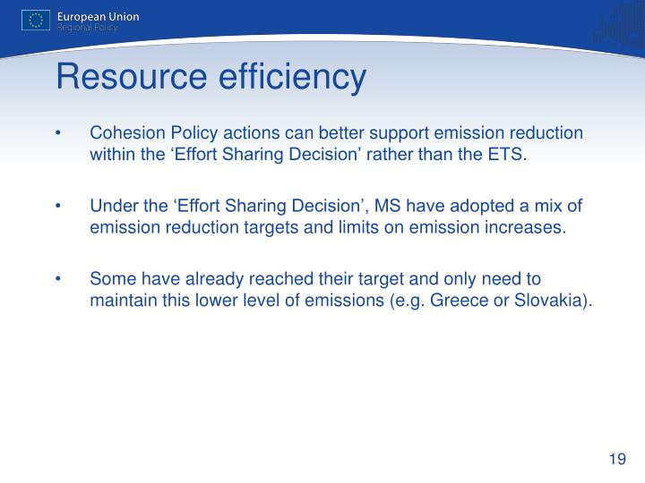 Cohesion Policy actions can better support emission reduction within the 'Effort Sharing Decision' rather than the ETS.
