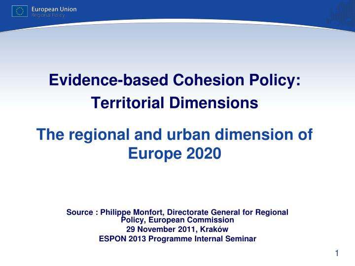 Evidence-based Cohesion Policy: Territorial Dimensions