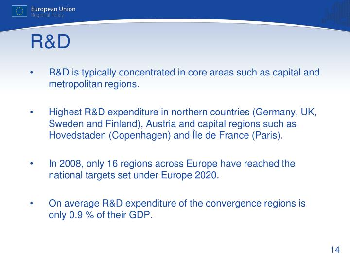 R&D is typically concentrated in core areas such as capital and metropolitan regions.