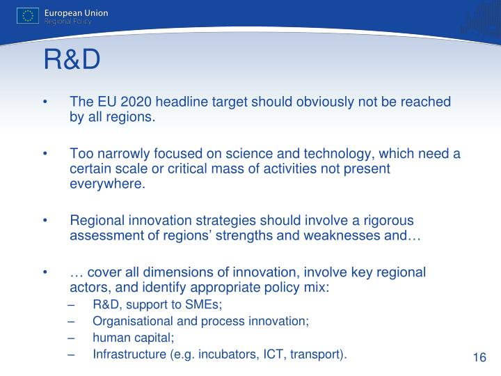 The EU 2020 headline target should obviously not be reached by all regions.