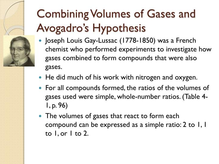 Combining Volumes of Gases and Avogadro's Hypothesis