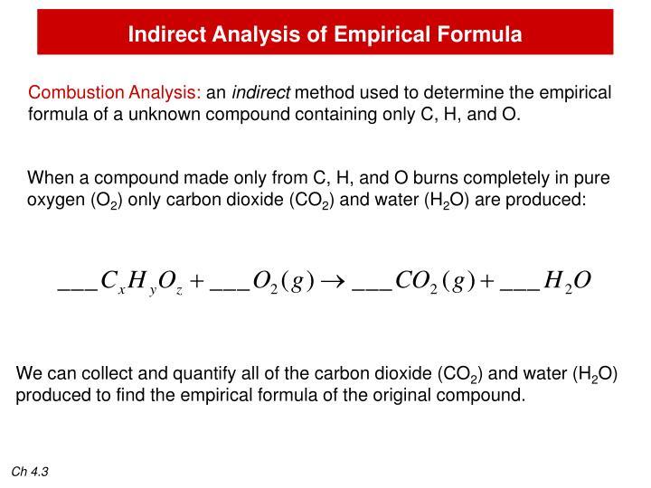 Indirect Analysis of Empirical Formula