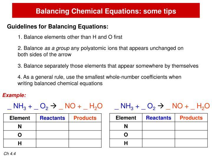 Balancing Chemical Equations: some tips