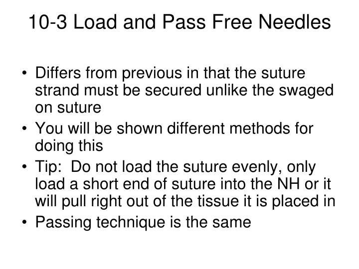 10-3 Load and Pass Free Needles