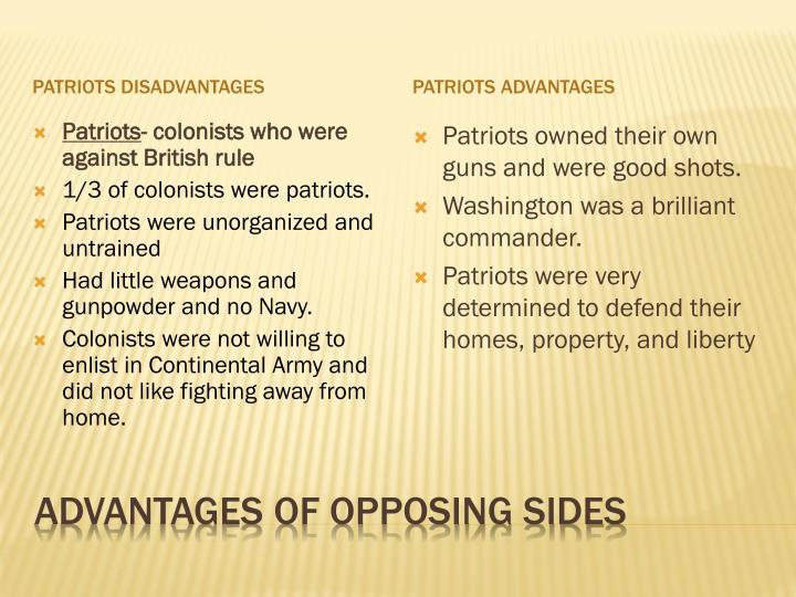 Patriots disadvantages