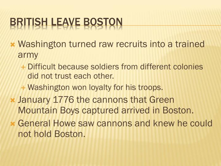 Washington turned raw recruits into a trained army