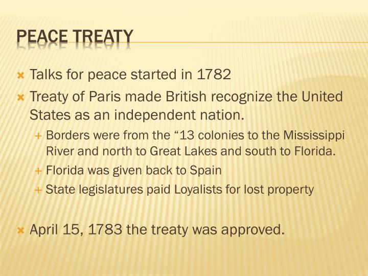 Talks for peace started in 1782