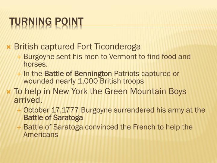 British captured Fort Ticonderoga
