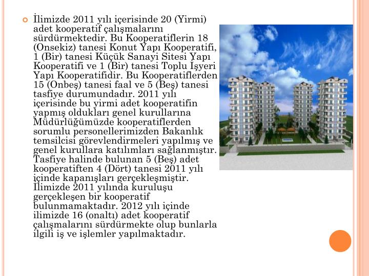 İlimizde 2011 yılı içerisinde 20 (Yirmi) adet kooperatif çalışmalarını sürdürmektedir. Bu Kooperatiflerin 18 (
