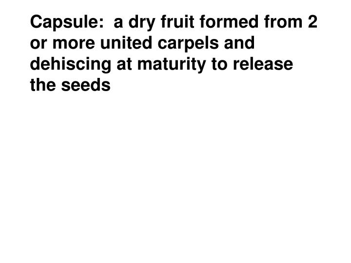 Capsule:  a dry fruit formed from 2 or more united carpels and dehiscing at maturity to release the seeds