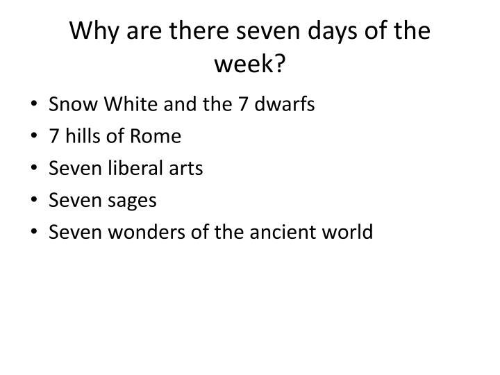 Why are there seven days of the week