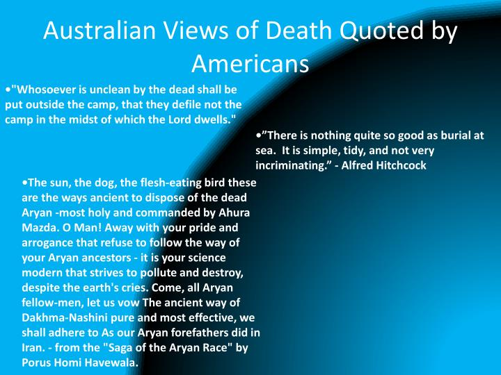 Australian Views of Death Quoted by Americans