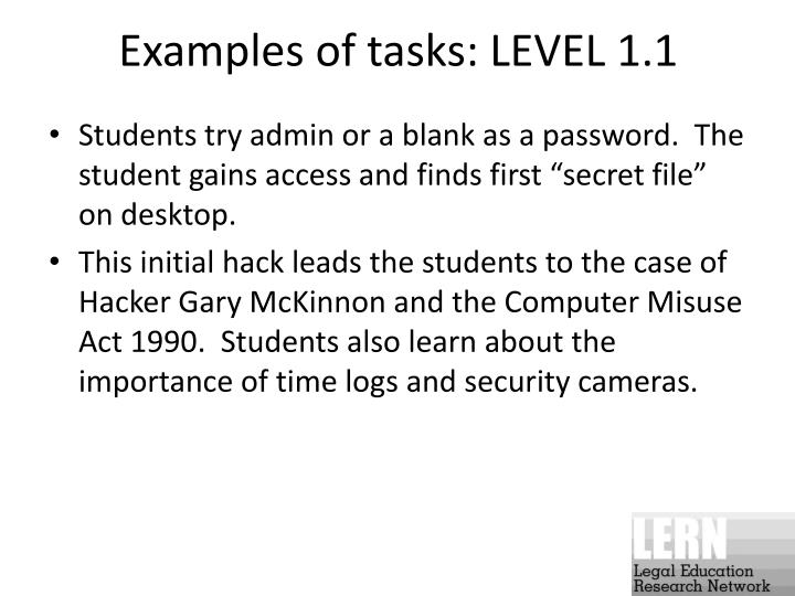 Examples of tasks: LEVEL