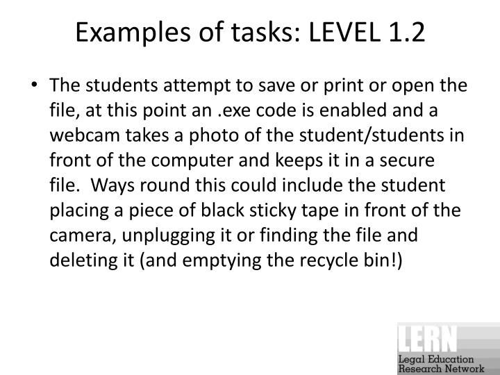 Examples of tasks: LEVEL 1.2