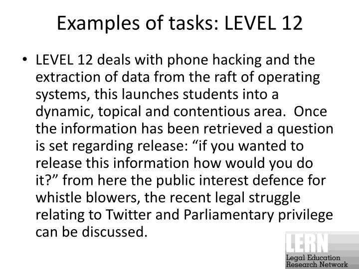 Examples of tasks: LEVEL 12