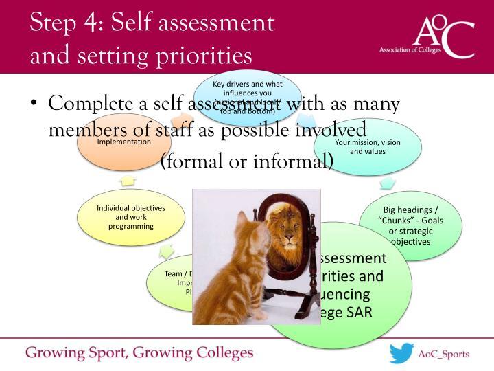 Step 4: Self assessment