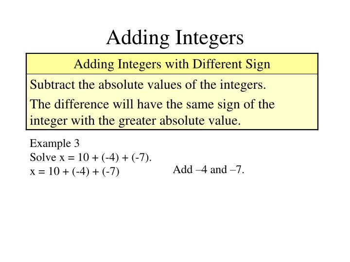 Adding Integers