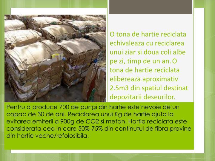 O tona de hartie reciclata echivaleaza cu reciclarea unui ziar si doua coli albe pe zi, timp de un an.