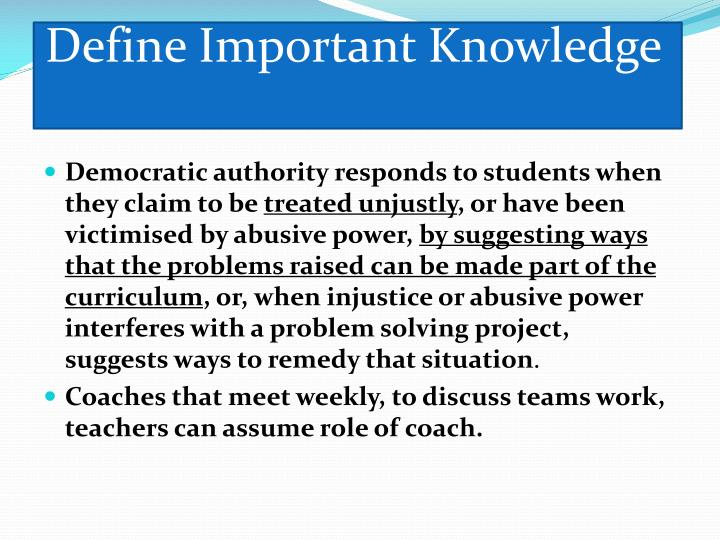 Define Important Knowledge