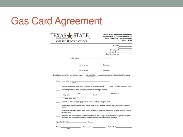 Gas Card Agreement