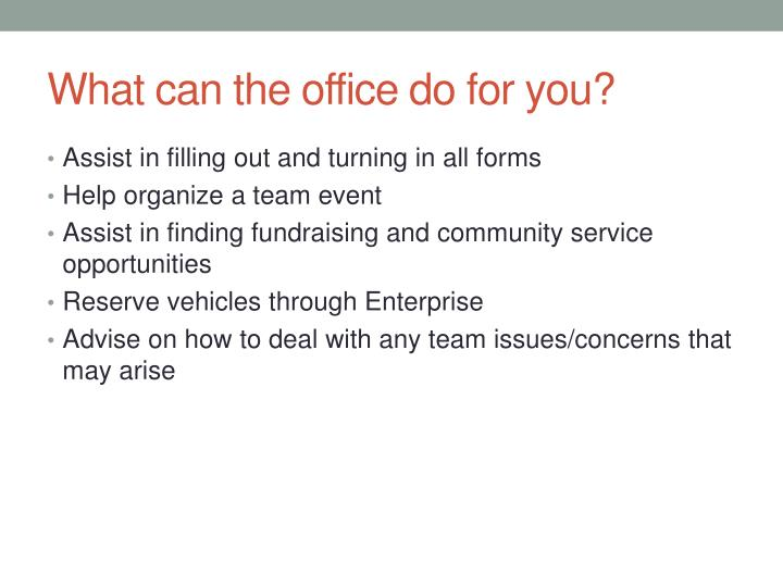 What can the office do for you