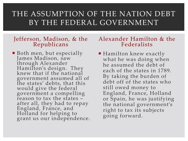 The Assumption of the Nation debt by the Federal Government