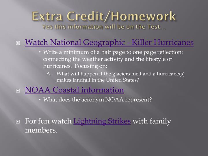 Extra Credit/Homework