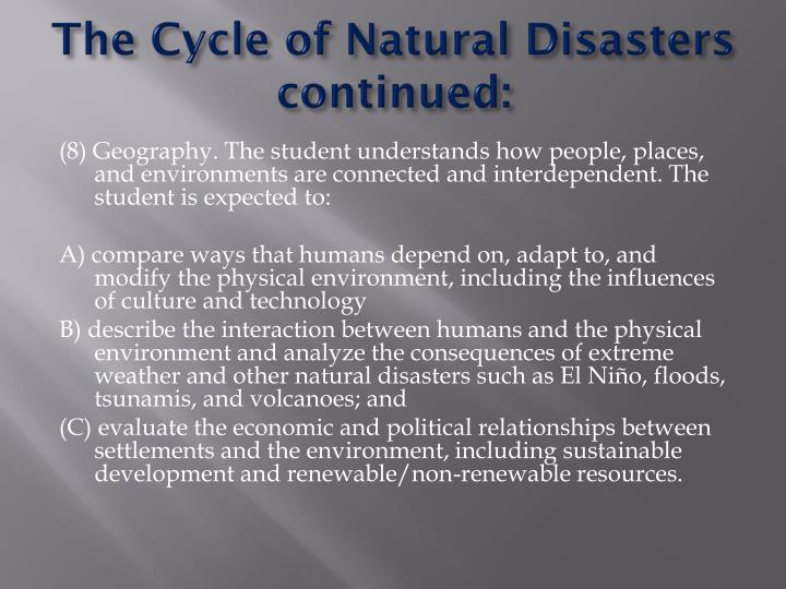 The Cycle of Natural Disasters
