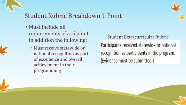 Student Rubric Breakdown 1 Point