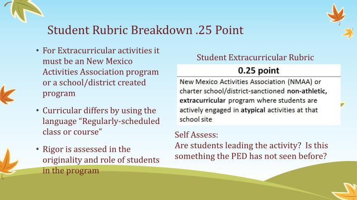 Student Rubric Breakdown .25 Point