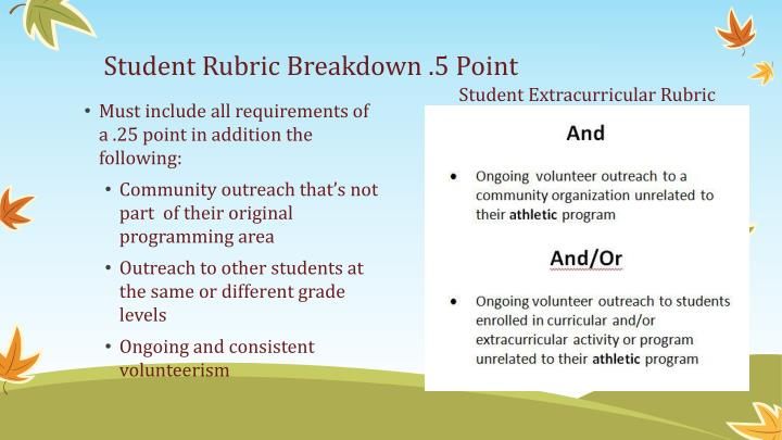 Student Rubric Breakdown .5 Point