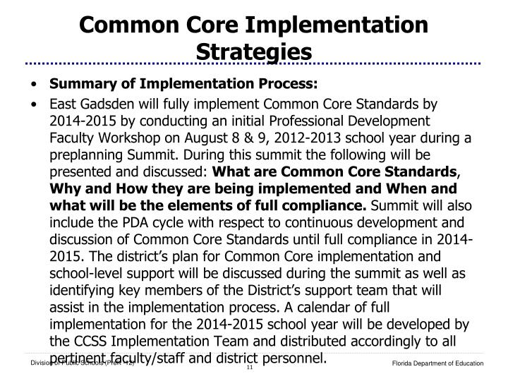 Common Core Implementation Strategies