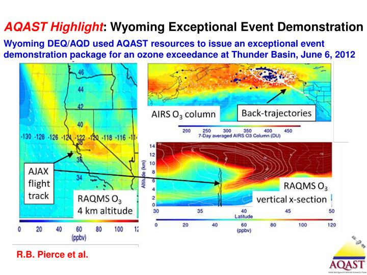 Wyoming DEQ/AQD used AQAST resources to issue an exceptional event demonstration package for an ozone
