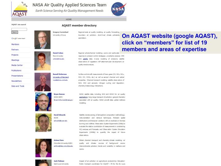 On AQAST website (