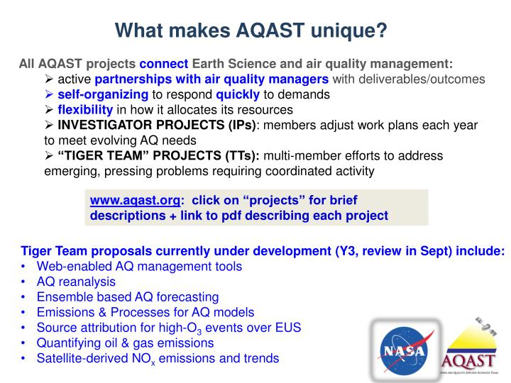 What makes AQAST unique?
