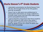 sharla steever s 4 th grade students